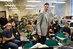 Since 2013, John Hart (standing, center) has been teaching the MIT graduate course 2.S998 (Additive Manufacturing), which explores the fundamentals of 3-D printing. Photo courtesy of John Hart.