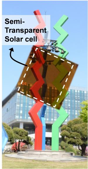 Picture 1: Semi-transparent Perovskite Solar Cell. This picture shows a prototype of a semi-transparent perovskite solar cell with thermal-mirror functionality. Source : KAIST