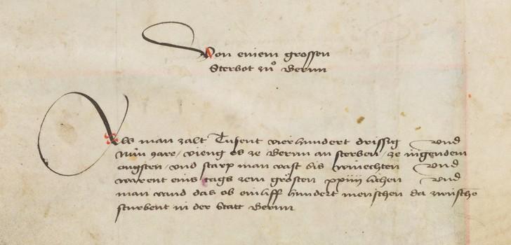 bout a great mortality in Bern 1439 (Credit: Bern Burgerbibliothek, www.e-codices.unifr.ch)